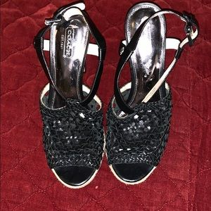 Coach Leather Woven Heeled Sandals 7.5 B